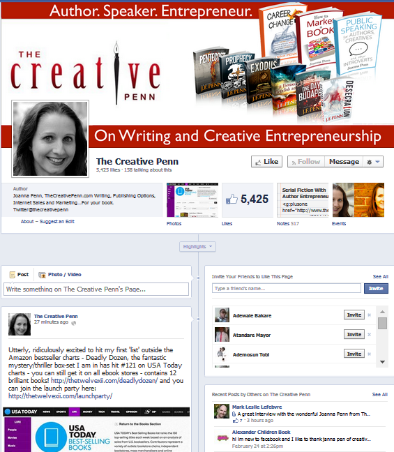 A Good Looking, Simple And Customized Facebook Page Like This One Of Joanna Penn Helps Authors A Lot In Getting Result From Facebook Marketing
