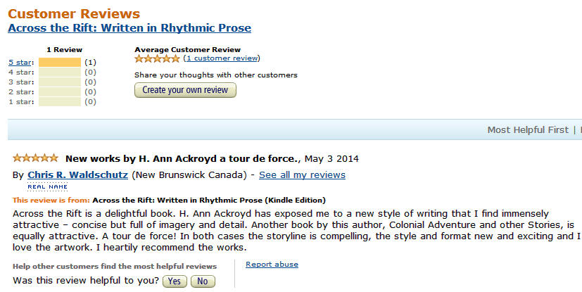 The Review Someone Who Download A Free Kindle Copy Of The Book Left At The Amazon CA Kindle Store For Across The Rift